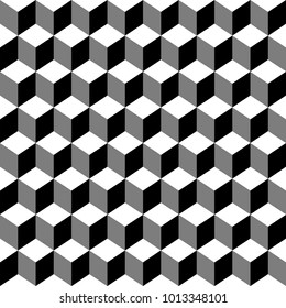 Seamless pattern with isometric cubes. Endless cubic Memphis group style black and white background