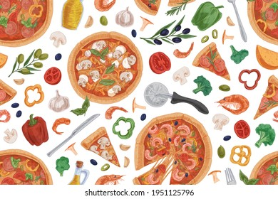 Seamless pattern with Italian pizza slices, ingredients and kitchen tools on white background. Hand-drawn endless design of repeatable texture for pizzeria. Colored vector illustration for printing