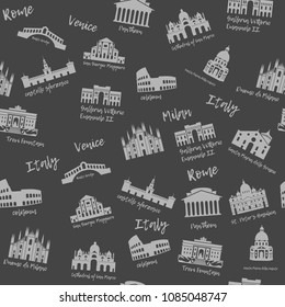 Seamless pattern of Italy. Building, landmarks of sities. Silhouette travel icons of the Colosseum, Galleria Vittorio, Pantheon, St. Peters Basilica, Trevi Fountain. Background of Venice, Milan, Rome