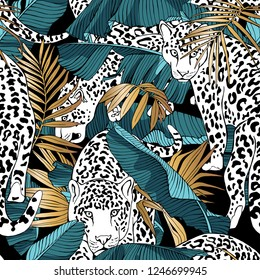 Seamless pattern. Jaguars and a blue-green Tropical banana, gold exotic palm leaves. Textile composition, hand drawn style print. Vector illustration.