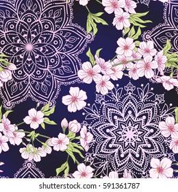 Seamless pattern with Japanese blossom sakura. Vector stock illustration.