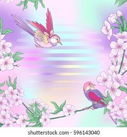 Seamless pattern with Japanese blossom sakura and birds. Vector stock illustration.