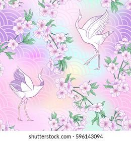 Seamless pattern with Japanese blossom sakura and crane. Vector stock illustration.