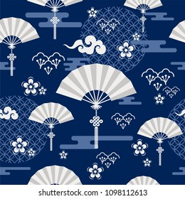 Seamless pattern with  Japanese, chinese and asian elements.