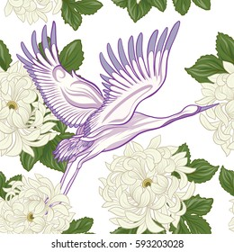 Seamless pattern with Japanese crane and chrysanthemum in Japanese style. Vector stock illustration.