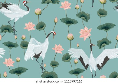 seamless pattern with japanese cranes and lotuses