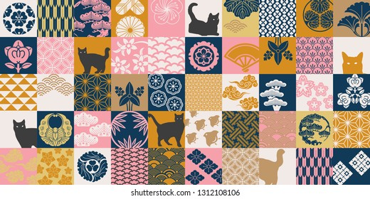 Seamless pattern with Japanese Family Crests symbol. KAMON (家紋) are Japanese emblems used to decorate and identify an individual. Traditional Asian pattern in Japanese style.