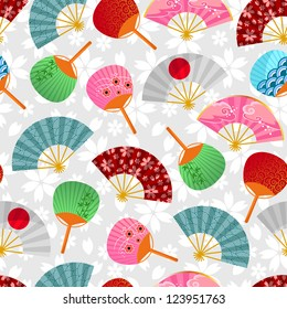 seamless pattern with Japanese fans (JPEG available in my gallery)