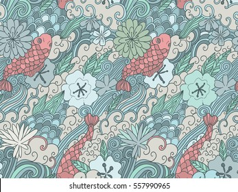 Seamless pattern with japanese garden flowers and carps. Tile background for your design, fabric textile, wallpaper or wrapping paper. Beautiful doodle fish and plants