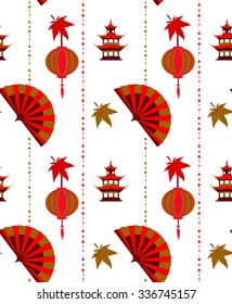 Seamless pattern in the Japanese style with a colored fans and red lanterns on a white background.