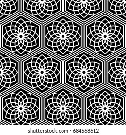 Seamless pattern of Japanese traditional lattice ornament with Lotus flower. Oriental trellis print. Abstract black and white background of intersected shapes in Asian style. Vector Illustration.