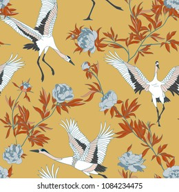 Seamless pattern with Japanese white cranes and peony, embroidered sequins.