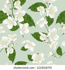 Nahtloses Muster mit Jasminblumen. Modernes Blumenmuster für Textilien, Tapeten, Druck, Geschenkverpackung, Gruß- oder Hochzeitshintergrund.