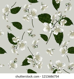 Seamless pattern with jasmine flowers. Modern floral pattern for textile, wallpaper, print, gift wrap, greeting or wedding background.