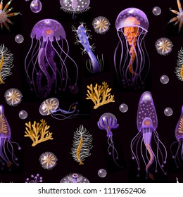 Seamless pattern with Jellyfish, corals, seaweed and other inhabitants of the ocean. Vector.