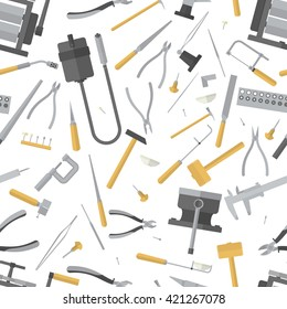 Seamless pattern of jewelry tools. Goldsmith instrument . Jewelers accessories. Vector illustration