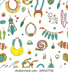 Seamless pattern with jewerly items. Handmade accessories - ring, necklace, earrings, cufflinks, brooch and bracelets.