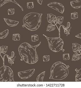 Seamless pattern with jicama: tuber of jicama, leaves, flower and slice. Pachyrhizus erosus. Vector hand drawn illustration.