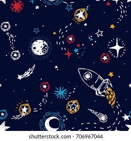 seamless pattern for journey to space with sketch stars, rocket, comets and planets, vector illustration