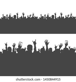 Seamless pattern with a joyful crowd, people at a concert, silhouette of a crowd