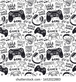 Seamless pattern with joysticks, text and headphones for a boy. Hand drawing, typography, cool background for game designs. Print for children's textiles, paper, T-shirts. Doodles and lettering.