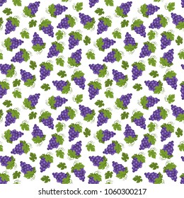Seamless pattern of juicy grapes with leaves. Vitamin product. This fruit design for your business projects. Perfect for fabrics and decor.  Beautiful vector background.
