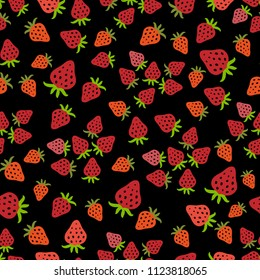 Seamless pattern with juicy strawberries