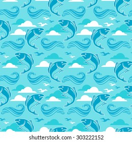 Seamless pattern with jumping fish, ocean waves, clouds and seagulls