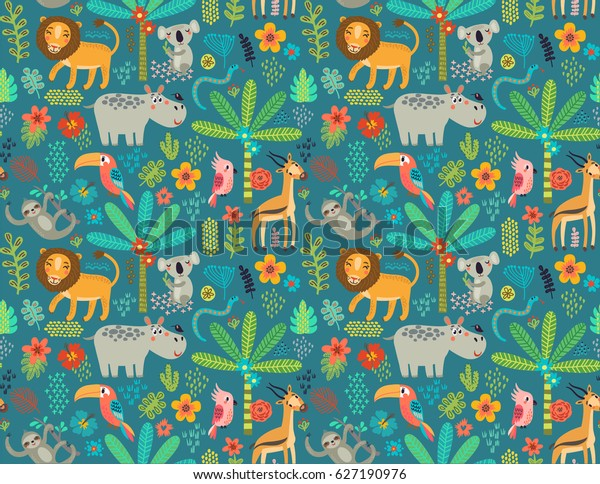 Seamless pattern Jungle animals