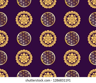 Seamless pattern with KAMON (家紋), are Japanese emblems used to decorate and identify an individual, a family. Japanese elements, Asian texture. Pattern for printing on packaging, textiles, paper.