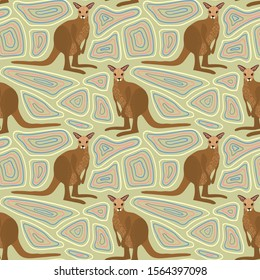 Seamless pattern of kangaroo with ethnic ornament elements. Repetitive textile vector print, wallpaper design.