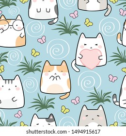 Seamless Pattern Kawaii Cute Cats, Cartoon Animals Background, Vector Illustration