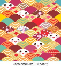 seamless pattern Kawaii with pink cheeks and winking eyes simple Nature background with japanese sakura flower, rosy pink Cherry,  wave circle pattern blue orange red burgundy colors. Vector