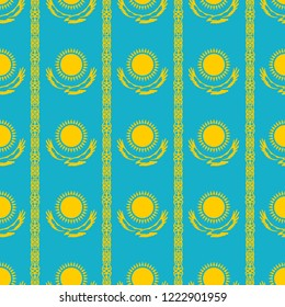 Seamless pattern. Kazakhstan official colors background. Banner or poster of Kazakhstan independence day celebration. Vector illustration design of Kazakhstan flag