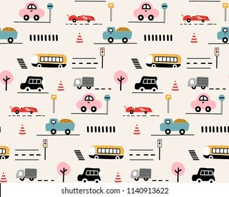 Seamless pattern kids background with cars. Hand drawn cute cartoon cars, road sign,zebra crossing vector illustration. Perfect for kids fabric,textile,nursery wallpaper