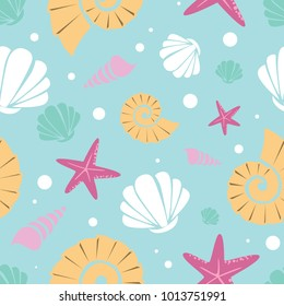 Seamless pattern for kids with cartoon undersea world. Vector Illustration