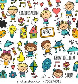 Seamless pattern Kids drawing Kindergarten School Happy children play Illustration for kids Nursery Preschool Children icon