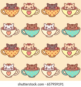 Seamless Pattern for Kids with kittens in cups
