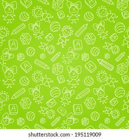 Seamless Pattern with Kids Silhouettes on Green Background. Simple Illustrations