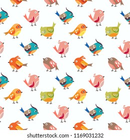 Seamless Pattern Kids Theme Cute Cool Animal Birds on Light  Background. Pattern suitable for posters, postcards, fabric or wrapping paper.