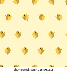 Seamless Pattern Kids Theme Cute Cool Animal Farm Chicken Yellow on Light  Background. Pattern suitable for posters, postcards, fabric or wrapping paper.