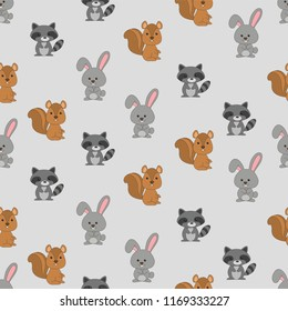 Seamless Pattern Kids Theme Cute Cool Animal Wildlife Racoon Squirrel on Light  Background. Pattern suitable for posters, postcards, fabric or wrapping paper.
