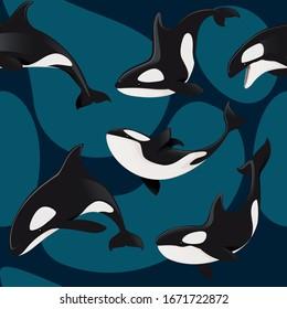 Seamless pattern of killer whale orca cartoon animal design flat vector illustration on blue background