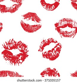 The seamless pattern with kisses. Red lipstick. The creative hand drawn background for your design. Textile, blog decoration, banner, poster, wrapping paper.
