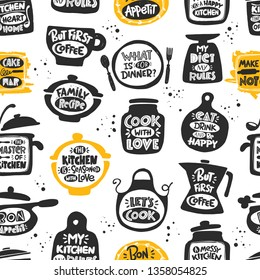 Seamless pattern with kitchen icons. Hand drawn vector illustration. Can be used for wrapping paper, fabric, farmers market, shop, cafe, food studio, menu, shop, bbq, truck, restaurant, cafe, bar