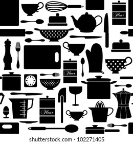 Seamless pattern with kitchen items in black and white.