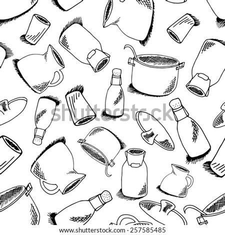 seamless pattern kitchen objects bottle watercan stock vector Panty Selfie seamless pattern kitchen objects bottle watercan stock vector royalty free 257585485 shutterstock