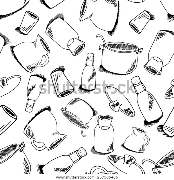 Seamless pattern of kitchen objects: bottle, water-can, glass, pot, pan. Illustration of crockery isolated on white background