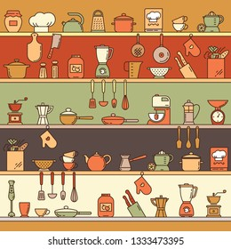 Seamless pattern with kitchen shelves full of various kitchen items and tools from colorful icons made in a flat style.