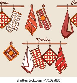 Seamless pattern with kitchen textiles. Doodle background with sketch objects